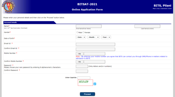 BITSAT New Candidate Registration