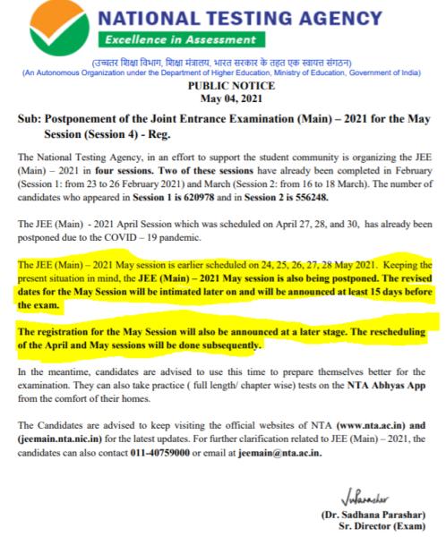JEE Main May Exam Postponement Notification