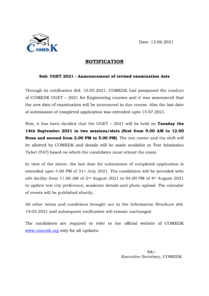 COMEDK UGET Notification announcing revised date of exam