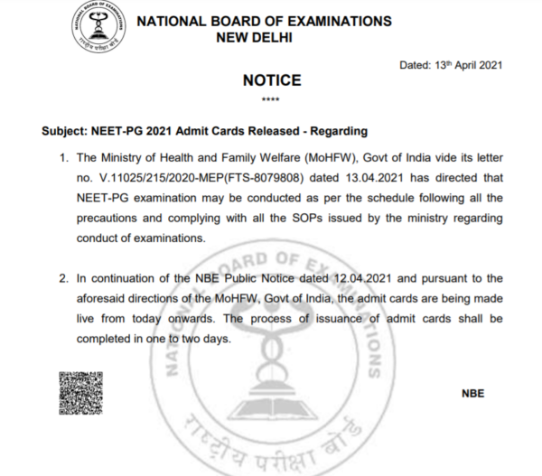 NEET PG 2021 Notice For Hall Ticket Availability
