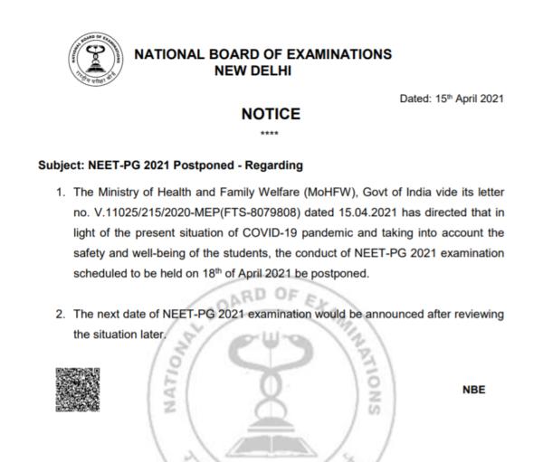 NBE NEET PG Exam Postponement Notice