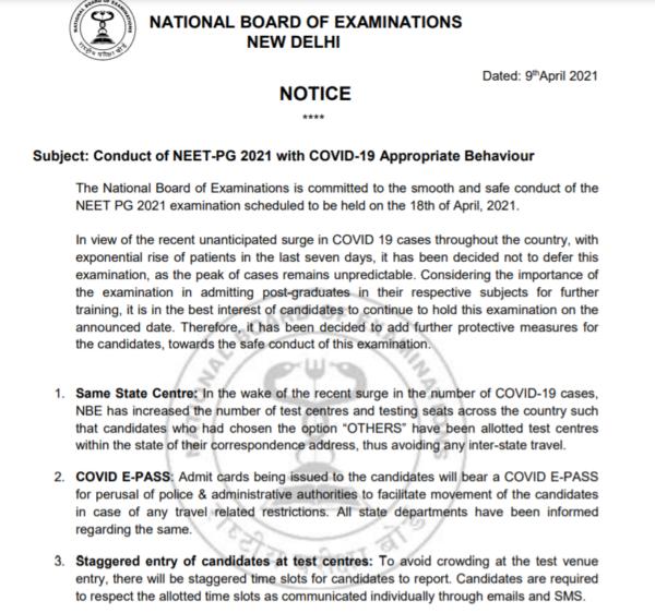 COVID-19 protocol for NEET PG Exam