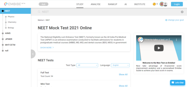NEET Mock test_Embibe