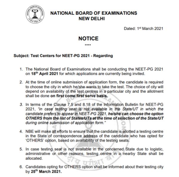 NEET PG 2021 Exam Centre Details 2021