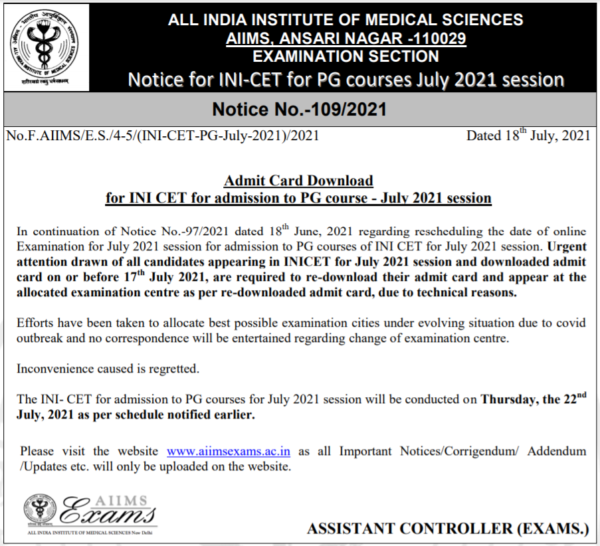 INI CET Admit Card Re-download Notice