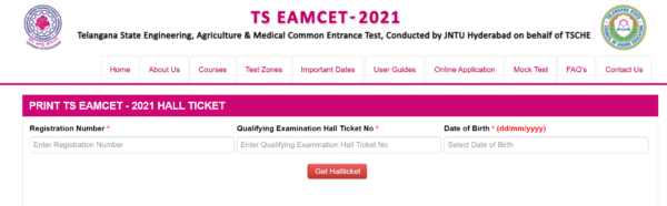 TS EAMCET 2021 Hall Ticket Window