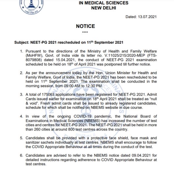 NEET PG 2021 Notice for the Exam