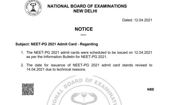 NEET PG Admit Card Notice 2021