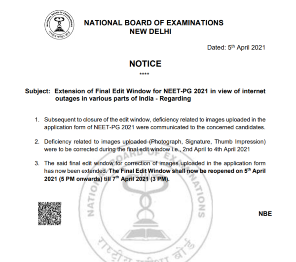 Extension of final edit window for NEET PG 2021