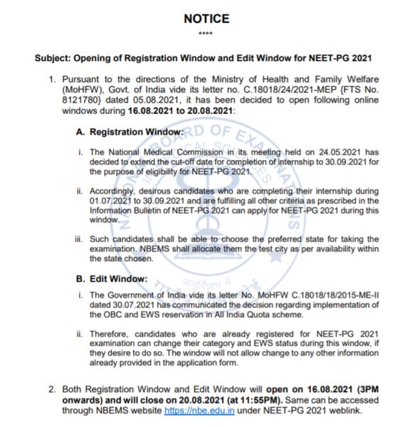 Information Notice regarding NEET PG 2021 Edit and registration window reopening