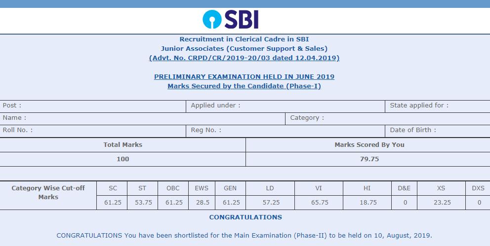 SBI Clerk Cut Off Sample