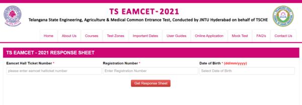 TS EAMCET Response sheet