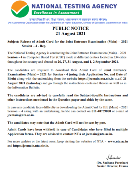 Notification regarding JEE Mains Admit Card Session 4
