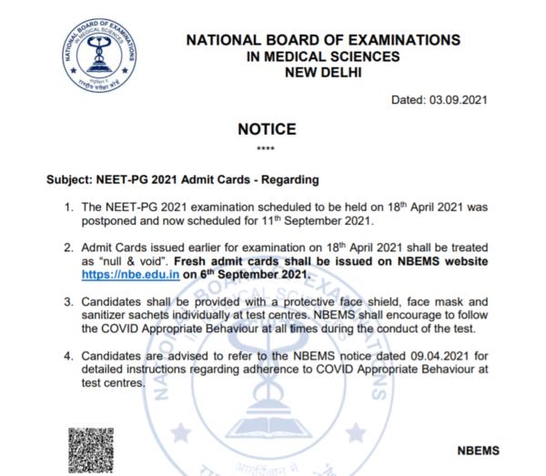NEET PG 2021 Admit Card Notice