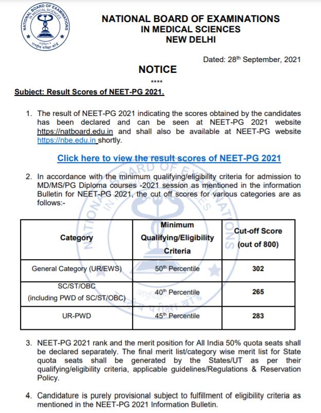 NEET PG 2021 - Result Official Notification